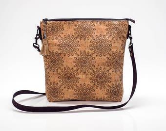 Commuter Cork Fabric Crossbody Bag with Top Zipper Closure