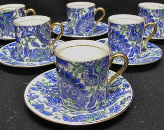 Set of SIX Arnart Royal Paisley Blue and White Demitasse Cup and Saucer Set