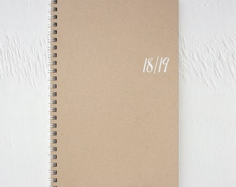 2018 - 2019 small academic kraft monthly spiral planner | 18 months | july 2018 to december 2019