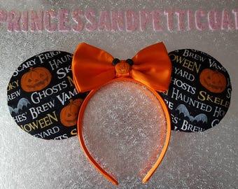 Halloween Pumpkin Bats Ghosts Mouse Ears Headband and Bow by PrincessandPetticoat