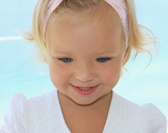 Baby girl headband, topknot baby, baby turban, baby bows, cotton knotted headband, toddler headband, baby headband, pink and gold triangles
