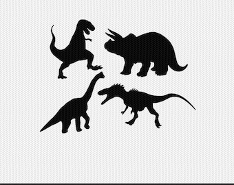 dinosaurs set svg dxf jpeg png file instant download stencil silhouette cameo cricut clip art boy nursery animals