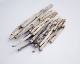 DRIFTWOOD TWIG PIECES, thin branches, rustic craft supplies, wood scrap, reclaimed, salvage, raw materials, drift wood twigs, coastal decor