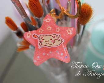 Shiny Pink resin keychain with Kitty sticker