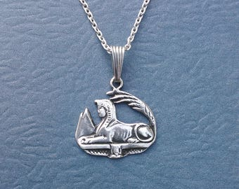 Sterling Silver Sphinx Charm Necklace