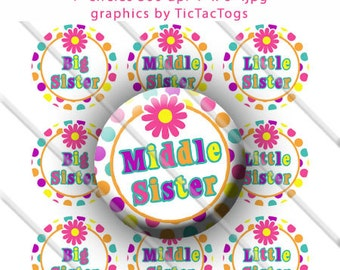 Colorful Polka-dot Daisy Big Middle Little Sister Bottle Cap Images 1 Inch Circles Digital JPG Colorful - Instant Download - BC375