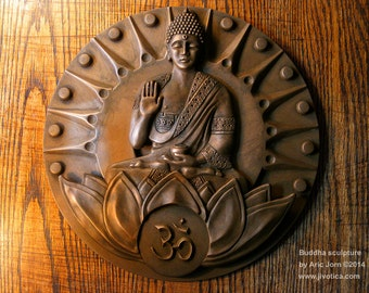 Buddha: The Awakened One. Cold-cast BRONZE finish. 2-layer relief sculpture/plaque.