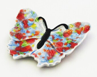 Ceramic Butterfly Tea Bag Holder or Small Spoon Rest Bright Colorful Kitchen Decor or Dining Table Accent Ceramic Pottery Made in the USA