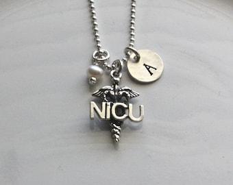 NICU Nurse Necklace - Monogram Necklace - Thank You Gift for Nurse - Custom Nurse Necklace - Nurse Graduation Gift - Nurse Jewelry