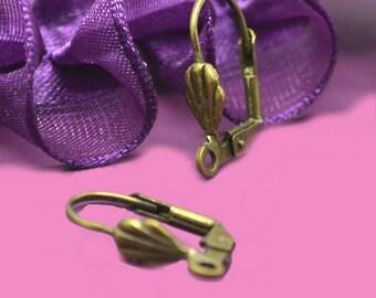 Shells 20x10mm earrings bronze earrings