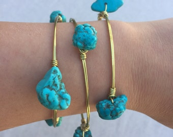 3 Stack of Turquoise Stone Wire-Wrapped Bangle Bracelets