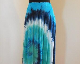 Tie Dye Skirt in Seafoam Blue Swirl