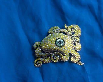 Yellow Octopus Brooch/Hair Clip