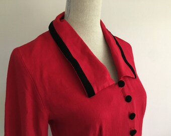 Red Suit Dress, Button Down Dress, Red and Velvet Dress, Vintage Christmas Dress, Red Vintage Dress, 80's Vintage Dress