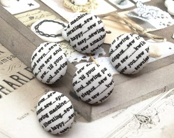 Handmade Off White Black Modern I Love Sewing Typo Word Script Fabric Covered Buttons, Craft Script Words Fridge Magnets, CHOOSE SIZE 5's