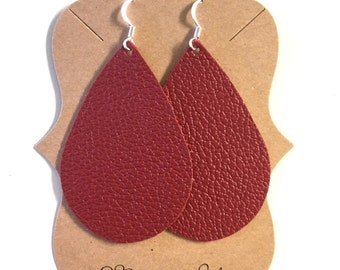 Red Leather Statement Earrings