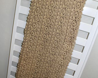Hand Crocheted decorative blanket afghan throw buff beige 53x80