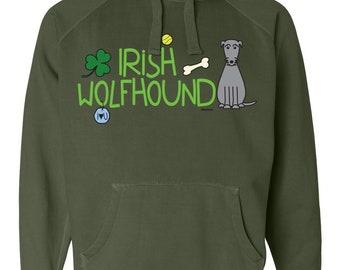 Irish Wolfhound Doodle Garment Dyed Hoodie Sweatshirt