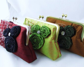 Set of 3 Bridesmaid clutches - Silk with satin rosettes, leaf, and rhinestone