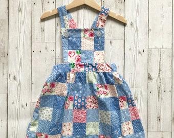 Girls Patchwork Dress - Blue Girls Dress - Blue Pinafore Dress - Girls Pinafore Dress - Toddler Pinafore - Patchwork Summer Dress