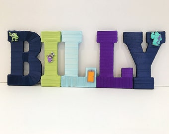 Monsters Inc Name Set, Monsters Inc Party, Boy Baby Shower Gift, Monsters Inc Birthday, Name Letters for Nursery, Photo Props for Kids