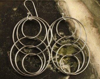 Sterling Silver Earrings - Long Silver Hoop Earrings - Reflections in Argentium Silver Earrings - 3D Movement Floating Design