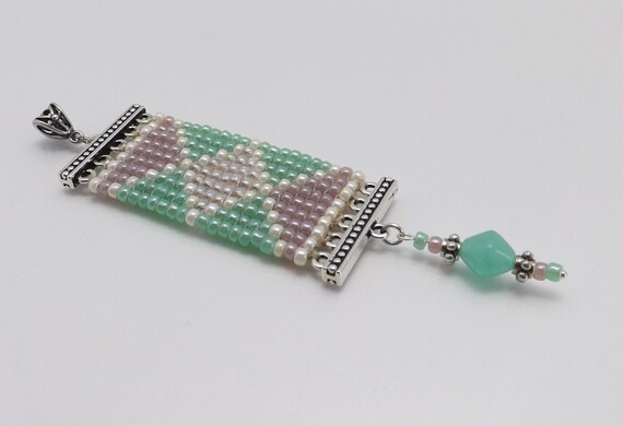 Seed Beaded Pendant - Light green/Lavender seed beads-4 inches long SKU: PEN1001