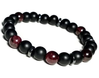 Garnet Bracelet Beaded Bracelet Mens Jewelry Womens Jewelry Red garnet bracelet January birthstone bracelet garnet gift for him 8mm bracelet
