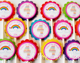 Rainbow Chevron Birthday Party or Baby Shower Cupcake Toppers Set of 12