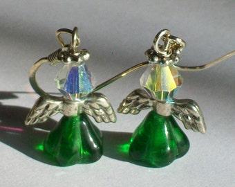 May Birthstone Angel Earrings