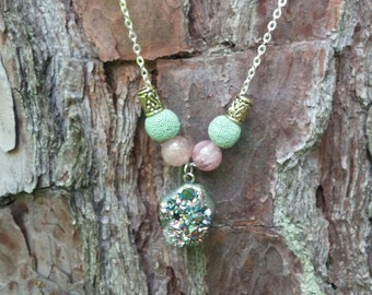 Rough cut Green Copper Druzy Essential Oil Diffuser Necklace