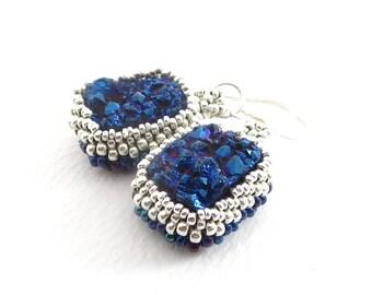 Peacock Blue Druzy Quartz Beadwoven Earrings