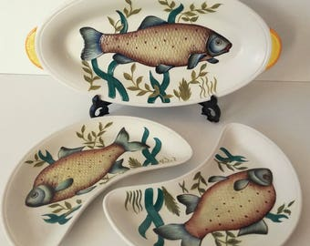 Radford Set of 3 Fish Serving Platters, Made in England