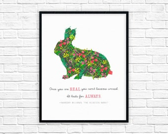 Velveteen Rabbit Nursery Decor Print | Once You are Real Baby Quote | Margery Williams Quote