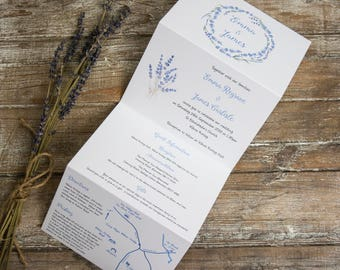 Lavender wedding invitations/ twine & map /Lavender wedding invite/Concertina fold / tri-fold invitation /Z-fold / All in one /Rustic/SAMPLE
