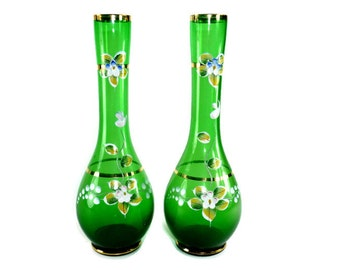 Vintage Painted Vases Set of 2 Emerald Green Glass Floral Design