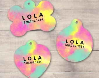 Pink, Aqua Paint Splatter Pet ID Tag, Custom Pet Tag, Personalized Dog Tag, Dog ID Tag, Puppy Tag, Dog ID, Pet Tag, Cat Tag (0012)