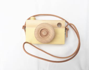 Toy Camera || Yellow || Leather Camera Strap || Pine