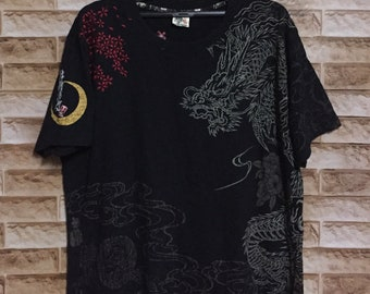 Vintage Dog Town Black Dragon Skateboard Embroidered Spell Out Logo Crew Neck T-shirt Black-XL