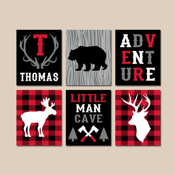 Popular Items For Nursery Decor On Etsy Baby Shower: LUMBERJACK Nursery Wall Art Buffalo Plaid Decor Baby Boy