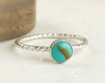Dainty Stacking Turquoise Ring - Turquoise - Turquoise Stackable Rings - Turquoise Rings For Women - Sterling Silver Turquoise Ring