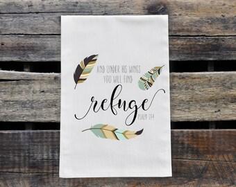 Psalm 91:4 Tea Towel