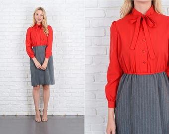 Vintage 70s 80s Red + Gray Color Block Dress Striped Puff Slv Small S 10070