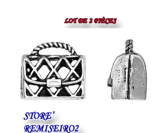 Lot of 2 Charm Pendants 3D Hollow Hand Bag Silver