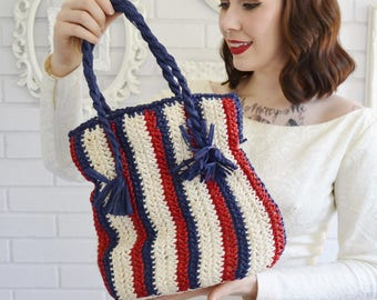 Vintage 1960s Red White and Blue Woven Raffia Handbag by Magid Made in Japan