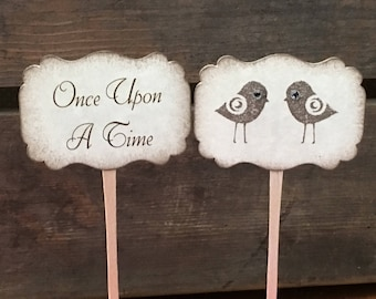 Once Upon A Time Cupcake Picks - Love Bird Cupcake Toppers - Wedding Shower Decor - Bridal Shower Decor - Set of 12
