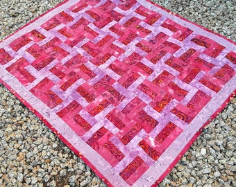 Baby Shower Gift, Baby Quilt, Handmade Quilt, Hand Dyed Lavender Quilt, Modern Baby