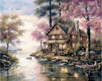 Lake Cabin Cross Stitch Chart
