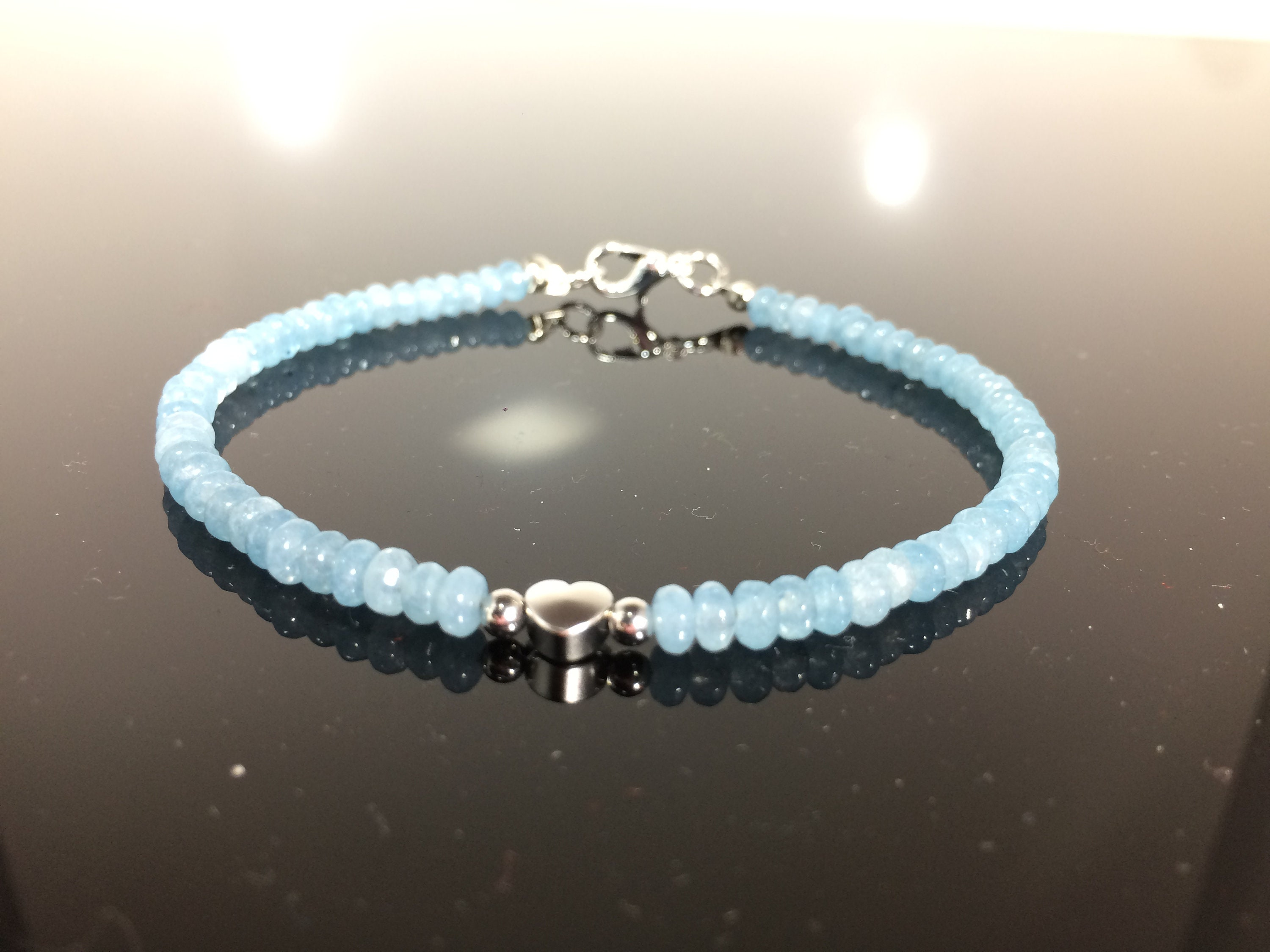 gold white aquamarine tennis in bracelet