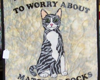 "A Beautiful Matching Socks Cat  27"" X 24"" Wall Hanging  Appliqued Quilt"